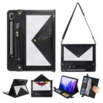 Color Splicing Envelop Style Wallet Leather Flip Case with Pen Pouch for Samsung Galaxy Tab S7 – Black/Silver