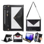 Color Splicing Envelop Style Wallet Leather Case with Pen Pouch for Samsung Galaxy Tab S7 Plus – Black/Silver