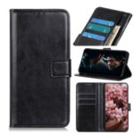 Crazy Horse Leather Phone Shell with Wallet Stand Cover for Samsung Galaxy M31s – Black