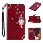 Rhinestone Decor Imprint Owl Flower Leather Wallet Stand Shell for Samsung Galaxy Note20 Ultra 5G / Galaxy Note20 Ultra – Red