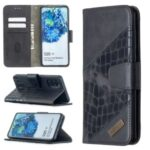 Crocodile Skin Assorted Color Leather Wallet Phone Cover for Samsung Galaxy S20 Plus – Black