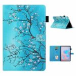 Pattern Printing Leather Card Holder Stand Tablet Shell for Samsung Galaxy Tab S7 T870/T875 – Flower Branch
