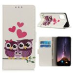Printing Skin with Wallet Leather Protective Cover for Samsung Galaxy S20 Lite/S20 Fan Edition – Owls and Hearts