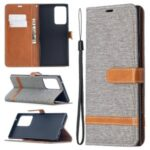 Assorted Color Jeans Cloth Skin Leather Shell for Samsung Galaxy Note20 Ultra/Note20 Ultra 5G – Grey