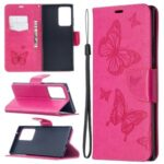 Imprint Butterflies Wallet Stand Flip Leather Phone Shell for Samsung Galaxy Note20 Ultra/Note20 Ultra 5G – Rose