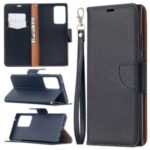 Litchi Texture Pure Color Leather Shell with Strap for Samsung Galaxy Note20 Ultra/Note20 Ultra 5G – Black