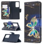 Pattern Printing Wallet Leather Protective Case for Samsung Galaxy Note20 Ultra 5G / Galaxy Note20 Ultra – Gold and Green Butterfly
