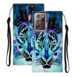 Embossed Patterned Wallet Stand Leather Phone Case with Strap for Samsung Galaxy Note20 Ultra/Note20 Ultra 5G – Tiger Face
