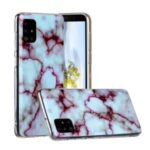 Marble Skin Printing Texture IMD TPU Shell for Samsung Galaxy A31 – White/Wine Red