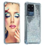 Glitter Powder Quicksand Rhinestone Decor Kickstand TPU Phone Cover for Samsung Galaxy S20 Ultra – Silver
