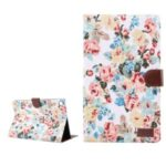 Pretty Flower Printing Skin Leather Shell for Samsung Galaxy Tab A7 10.4 (2020) T505/T500 – White