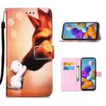 Leather Shell Pattern Printing Wallet Stand Case for Samsung Galaxy A21s – Fox
