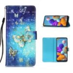 Pattern Printing Light Spot Decor Wallet Flip Leather Case with Lanyard for Samsung Galaxy A21s – Gold Butterfly
