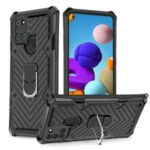 Rotatable with Finger Ring Kickstand PC + TPU Shell for Samsung Galaxy A21s – Black
