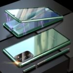 Magnetic Installation Metal Frame + Tempered Glass Alll-side Protective Case with Lens Cover for Samsung Galaxy Note 20/Note 20 5G – Green