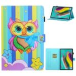 Printing Texture Leather with Card Holder Cover for Samsung Galaxy Tab A7 10.4 (2020) T500/T505 – Colorful Owl