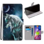 Pattern Printing Cross Texture Leather Wallet Phone Cover with Strap for Samsung Galaxy M51 – Wolf
