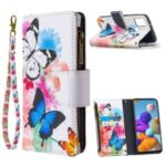 BF03 Pattern Printing Zipper Wallet Leather Phone Cover for Samsung Galaxy A21s – Blue and White Butterfly
