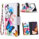 BF03 Pattern Printing Zipper Wallet Leather Phone Case for Samsung Galaxy Note20 Ultra/Note20 Ultra 5G – Blue and White Butterfly
