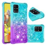 Shockproof Gradient Glitter Powder Quicksand TPU Back Case for Samsung Galaxy A51 5G SM-A516 – Cyan / Purple