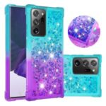 Shockproof Gradient Glitter Powder Quicksand TPU Phone Casing for Samsung Galaxy Note 20/Note 20 5G – Cyan / Purple