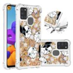 Liquid Glitter Powder Patterned Quicksand Shockproof TPU Back Case for Samsung Galaxy A21s – Dog
