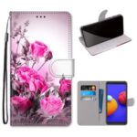 Printing Skin Cross Texture Leather Cover with Strap for Samsung Galaxy A01 Core – Rose