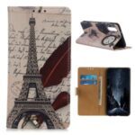 Protective Case with Wallet Leather Stand Cover for Sony Xperia 5 II – Eiffel Tower and Letters