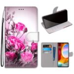 Pattern Printing Cross Texture Leather Wallet Phone Shell with Strap for LG Velvet – Rose