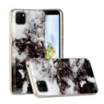 Marble Pattern IMD TPU Back Cell Phone Case for Huawei Y5p – White/Black