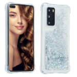 Pure Color Glitter Powder Quicksand TPU Cover for Huawei P40 – Silver