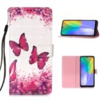 Pattern Printing Light Spot Decor Wallet Flip Leather Phone Case with Lanyard for Huawei Y6p – Red Butterfly