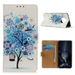 Protective Shell Stylish Printing Case Wallet Leather Stand Cover for Huawei Mate 40 Pro – Blue Tree