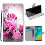 Pattern Printing Cross Texture Leather Wallet Phone Cover with Strap for Huawei Y8s – Rose