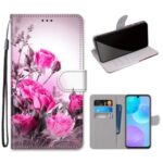 Pattern Printing Cross Texture Leather Wallet Phone Shell with Strap for Honor 30 Youth/30 Lite – Rose