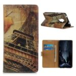 Pattern Printing Protector PU Leather Wallet Stand Phone Shell for Motorola Moto G9 Play – Eiffel Tower