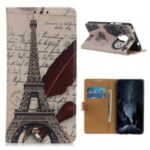 Pattern Printing Protector PU Leather Wallet Stand Phone Shell for Motorola Moto G9 Play – Tower and Letters