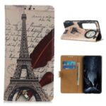 Pattern Printing Wallet Leather Protective Shell for Xiaomi Mi 10 Ultra – Effel Tower and Quill-pen
