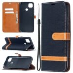 Assorted Color Jeans Cloth Skin Leather Cell Phone Cover for Xiaomi Redmi 9C – Black