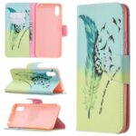 Pattern Printing Magnetic Leather Wallet Stylish Case for Xiaomi Redmi 9A – Feather Pattern