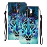 Embossed Patterned Wallet Stand Leather Phone Case with Strap for Xiaomi Redmi 9 – Tiger Face