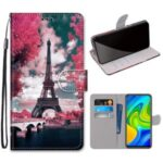 Pattern Printing Cross Texture Leather Wallet Phone Case with Strap for Xiaomi Redmi 10X 4G/Note 9 – Eiffel Tower
