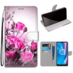 Pattern Printing Cross Texture Leather Wallet Phone Cover with Strap for Alcatel 1SE (2020) – Rose