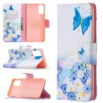 Pattern Printing Leather Wallet Protective Case for Oppo Reno4 5G – Butterfly and Flowers
