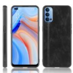 PU Leather Coated PC + TPU Mobile Phone Shell for Oppo Reno4 4G – Black