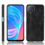 Hybrid Cover PU Leather Coated PC + TPU Phone Case for Oppo A72 5G – Black