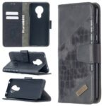 Crocodile Skin Assorted Color Leather Wallet Phone Cover for Nokia 5.3 – Black