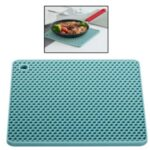 XIAOMIYOUPIN JORDAN JUDY HO019 Double-sided Honeycomb Place Mat Insulation Placemat Silicone Square Double-sided Placemat Kitchen Thicken Anti-scald Placemat Table Mat – Dark Blue