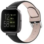 Top Layer Genuine Leather Watch Band Replacement for Fitbit Versa 3/Sense – Black