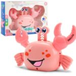 Cute Electric Stunt Crab with Music and Light Funny Interactive Toy – Pink